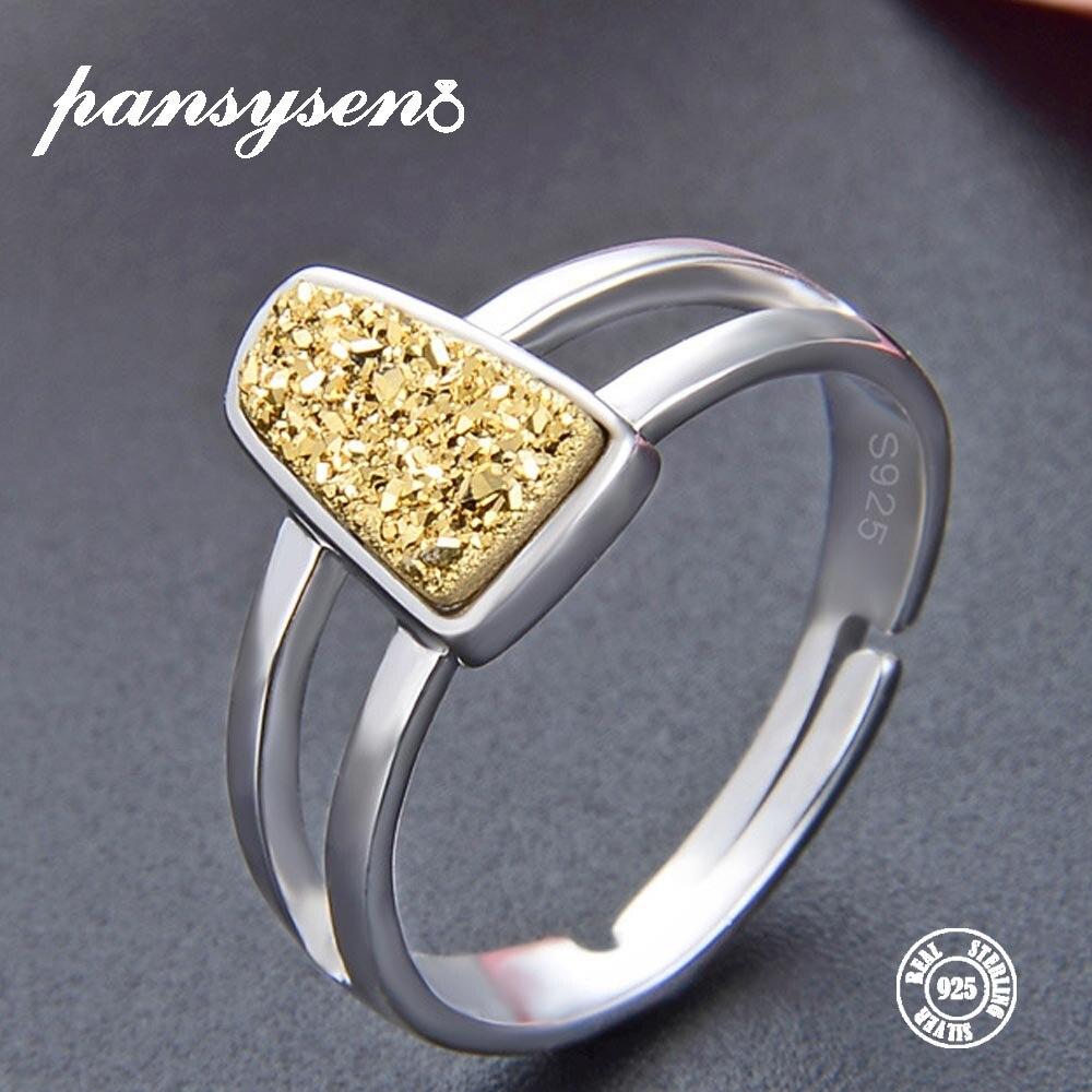 PANSYSEN Adjust-Ring Jewelry Gemstone Yellow Topaz Gift Wedding Wholesale 100%925-Silver