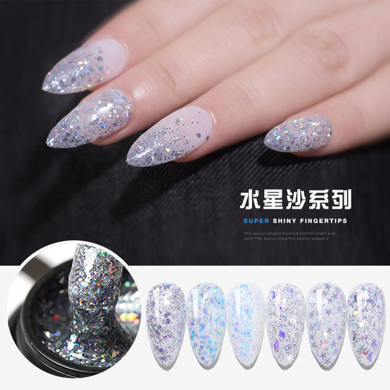 Nail Art New Flashing Mercury Star Sand Laser Magic Star Moon Film Fairy Popular Color Nail Polish UV LED Nail Gel
