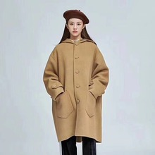 купить Hooded Short Wool Coat Double-sided Cashmere Coat Women's Clothing Woolen 2019 Single Breasted Long Women Coat дешево