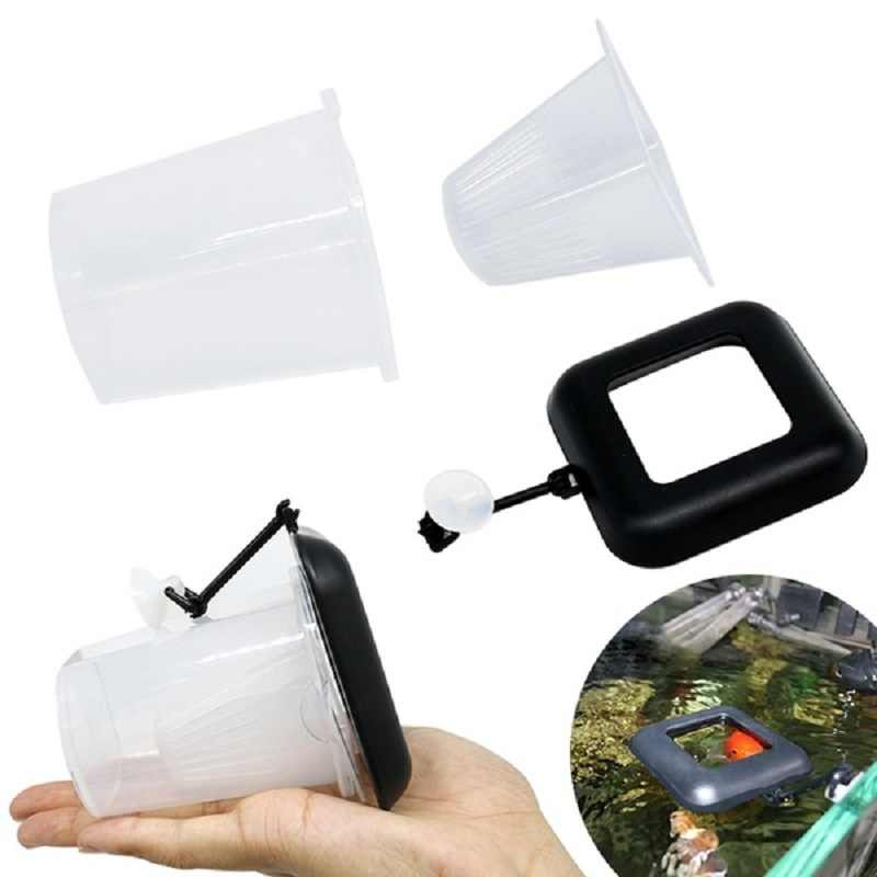Fish Feeder for Aquarium Fish Tank Pet Feeding Fish Feeder Great Feed Floating Everywhere Fish Food Ring Suction Cup