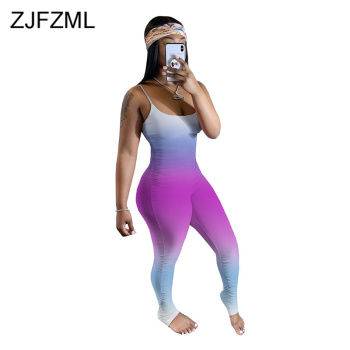 Gradient Camouflage Fitness Romper Women Jumpsuit Summer Clothes For Women Spaghetti Strap Sleeveless Pleated Club Party Catsuit fashionable spaghetti strap criss cross pocket design romper for women