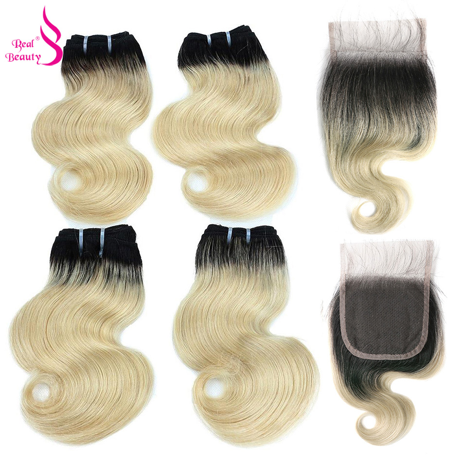 Real Beauty Body Wave 4 Bundles With Closure Brazilian Remy Human Hair Bundles 50G Deals Ombre Blond Human Hair Extensions