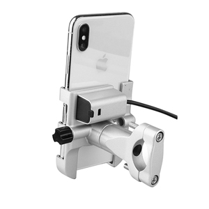 Image 5 - Universal Aluminum  Bike Motorcycle Phone Holder With USB Charger Support Moto GPS Handlebar Bracket Stand for SmartPhone Mount