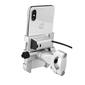 Image 2 - Uniwersalny aluminiowy uchwyt na telefon do motocykla z ładowarką USB wsparcie Moto GPS uchwyt na kierownicę stojak na uchwyt do smartfona