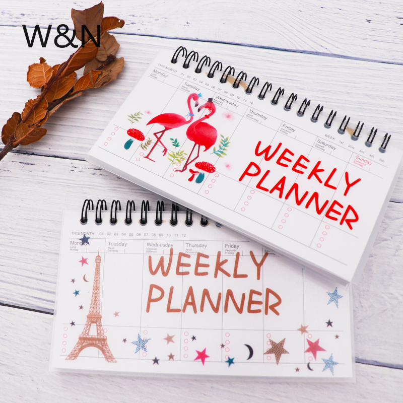 2019 Flamingoes Notebook Spiral Paper Diary Planner Weekly Monthly Planner Organizer Notebook Agenda Kawaii Office School Supply
