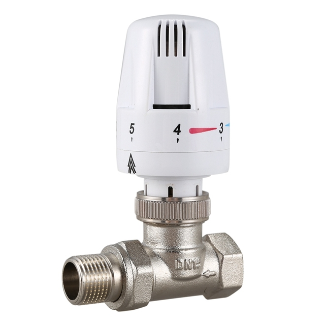 Латунный термостатический клапан радиатора прямого типа, автоматический клапан контроля температуры, подогрев пола
