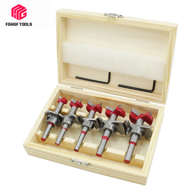 Professional 5Pcs Forstner Drill Bit Wood Set Self Centering Hole Saw Cutter Adjustable Flat Wing Drill Set Woodworking Tools