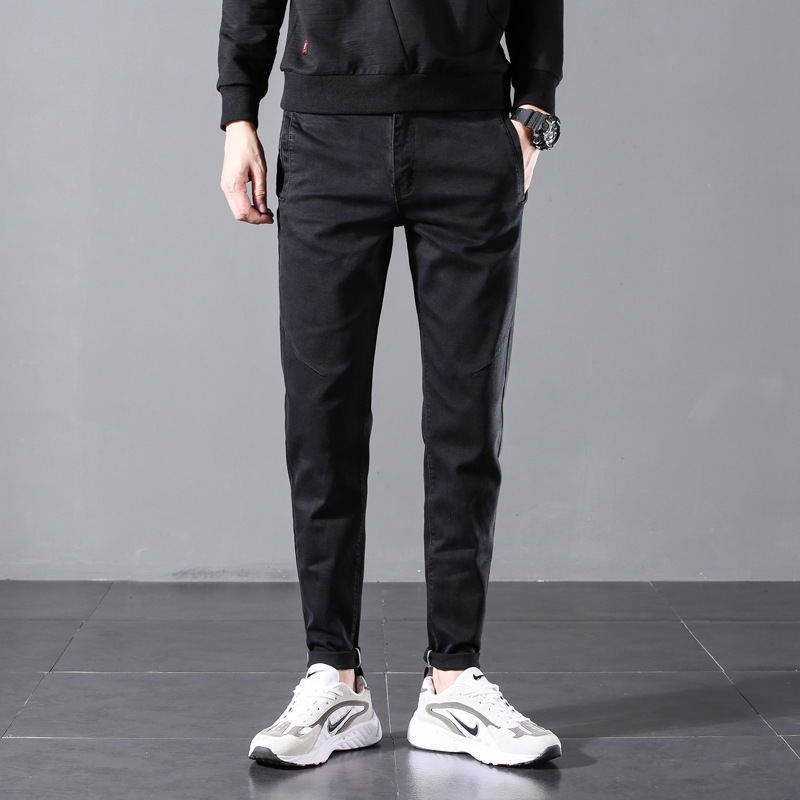 Autumn & Winter New Style Black And Gray Jeans Men's Slim Fit Straight-Cut Plus-sized Fat Pants Korean-style 901