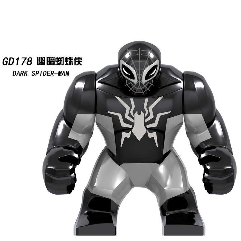 Legoed Minifigured Ukuran Besar Super Hero Marvel Avengers Gelap Spider Man Blok Bangunan Batu Bata Hadiah Mainan Bayi Anak Hadiah GD178