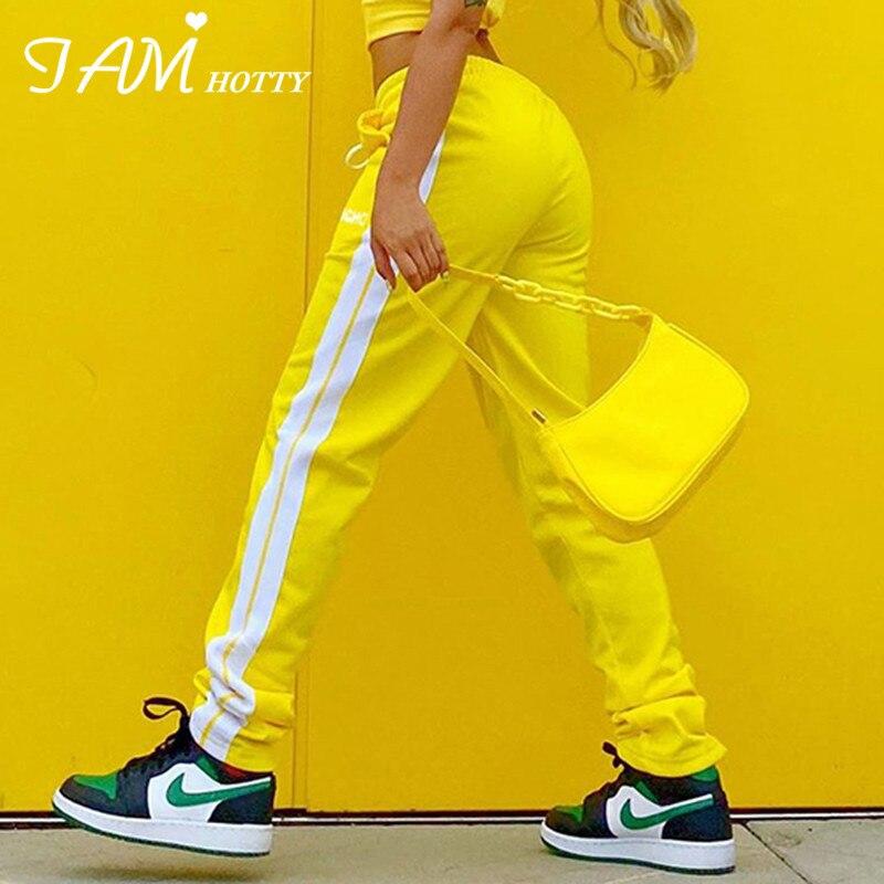 IAMHOTTY Side Stripe Sweat Joggers Women Vintage Loose Y2K Cargo Pants Capris Streetwear Female 90s Aesthetic Sporty Trousers