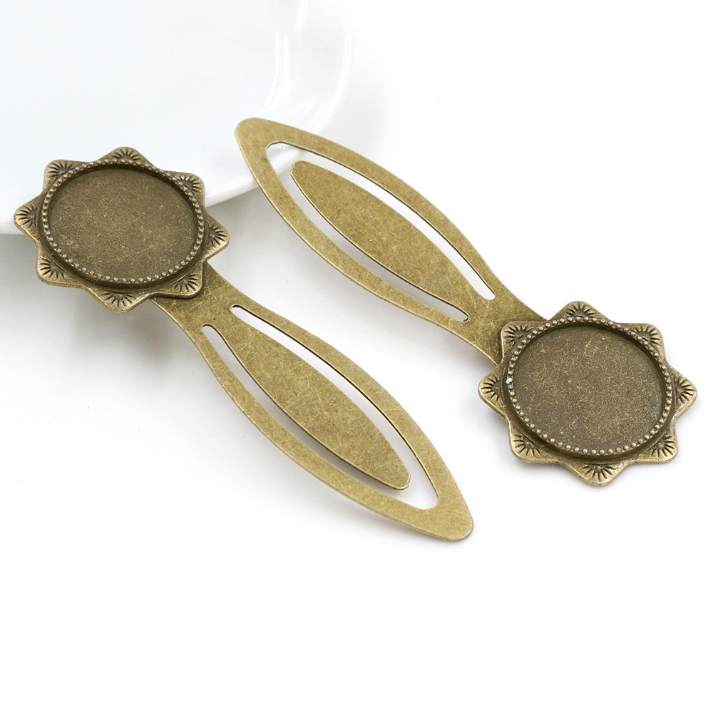 New Fashion 2pcs 20mm Inner Size Antique Bronze Vintage Style Handmade Bookmark Cabochon Base  Cameo Setting -R6-22