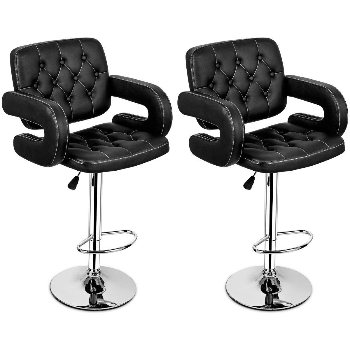 Set of 2 Swivel Bar Stool Leather Modern Adjustable Hydraulic Barstool w//Armrest