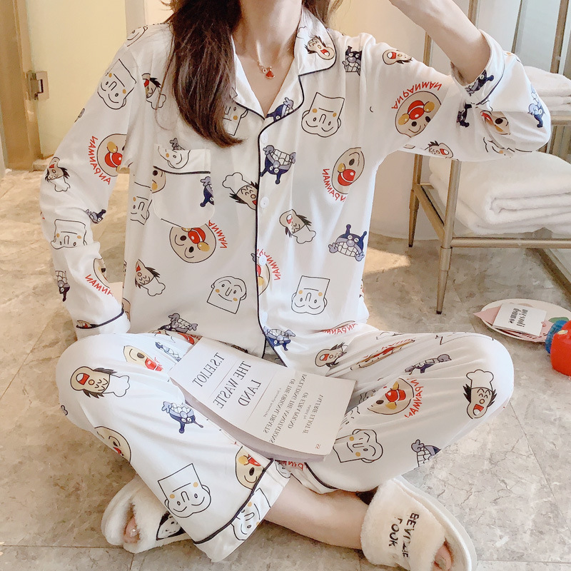 Pajamas Women's Spring And Autumn New Style Korean-style Fashion Cardigan Tracksuit (Cartoon Family 4-#) Qmilch Sweet