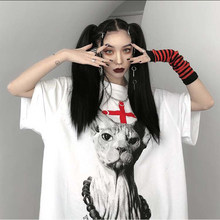 Summer Female Pretty Tee Loose Women T Shirt Punk Dark Wind Streetwear Ladies Gothic Tops Harajuku Kawaii Oversized T Shirts Y2k