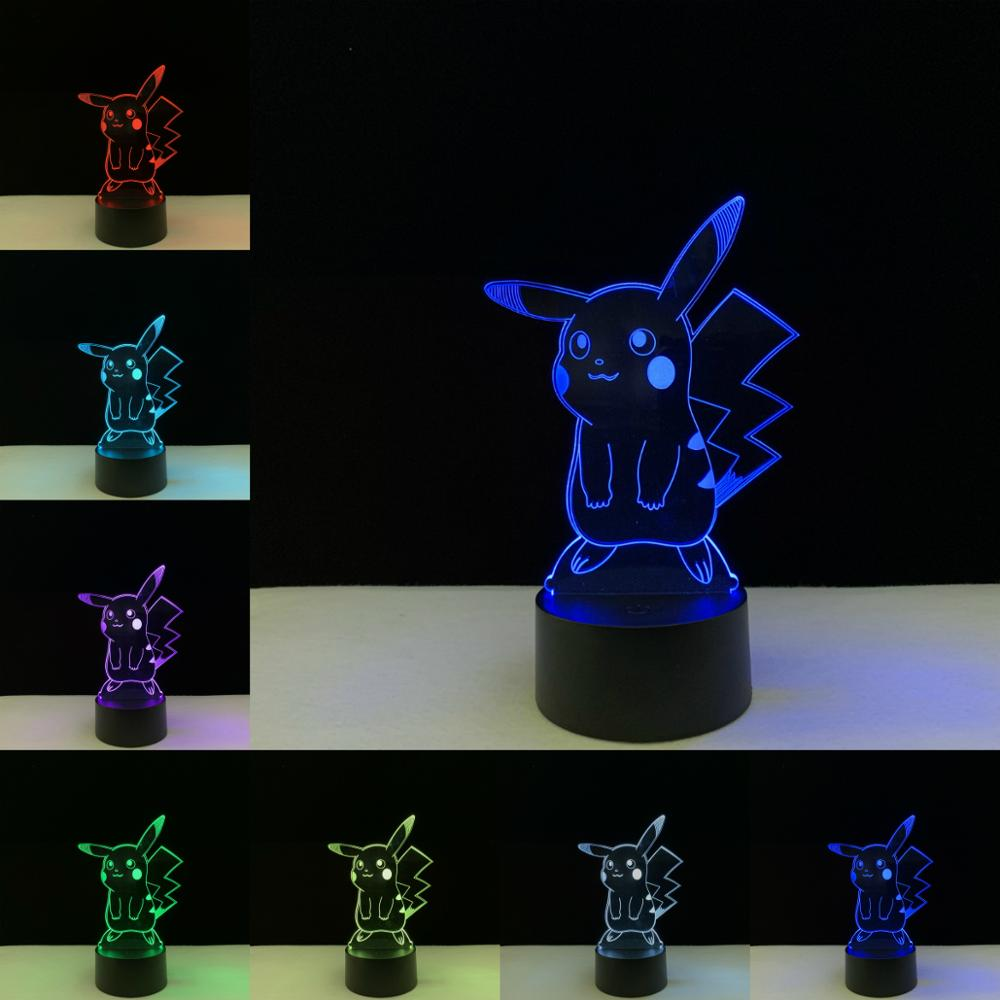 Pokemon Go Mew 3D Lamp Acrylic LED Night Light 7 Color USB Remote Lamp Kids Gift