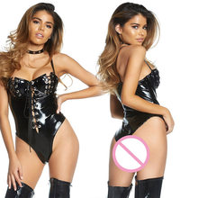 Vinyl Bustier With Lace Up Detail Leather Bodysuit Erotic Open Cup Wetlook Body Suits Teddies Lingerie Party Club Underwear(China)