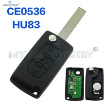 Купить с кэшбэком CE0536 Flip remote key 3 button with light button HU83 key blade 434mhz for Citroen