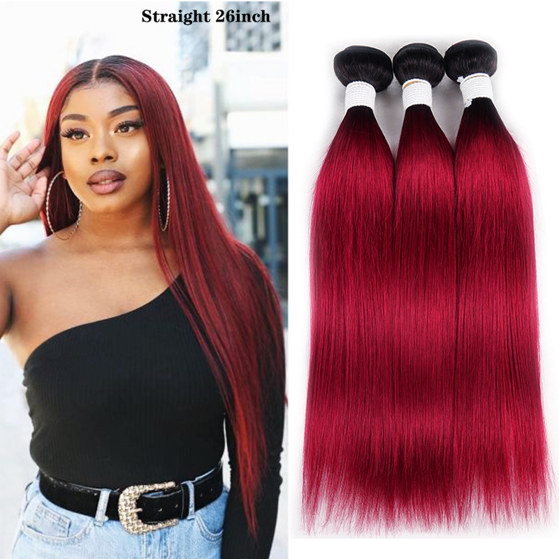 Ombre Red Brazilian Straight Human Hair Weave Bundles 1B 30 Brown 8-26 Inch Hair Bundles Non-Remy Hair Extension 1/3/4 PCS KEMY