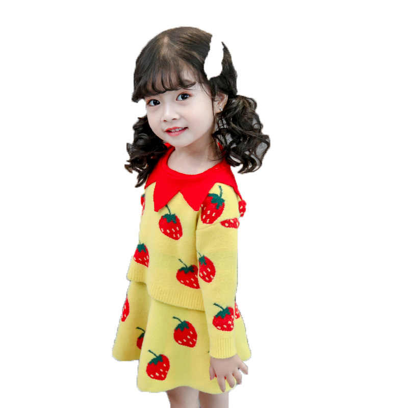 Baby Herfst Winter Meisjes Kleding Set Kinderen Katoen 2 Stuks Doeken Kinderen Outfits Shirt + Rok Trui Pak Voor Meisjes gebreide 3T