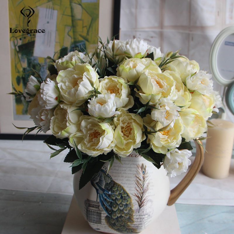 8 Heads Silk Artificial Peonies flowers for Wedding Marriage DIY Decor Small Craft Flower Peony Mini Fake Flowers for Home Decor 3