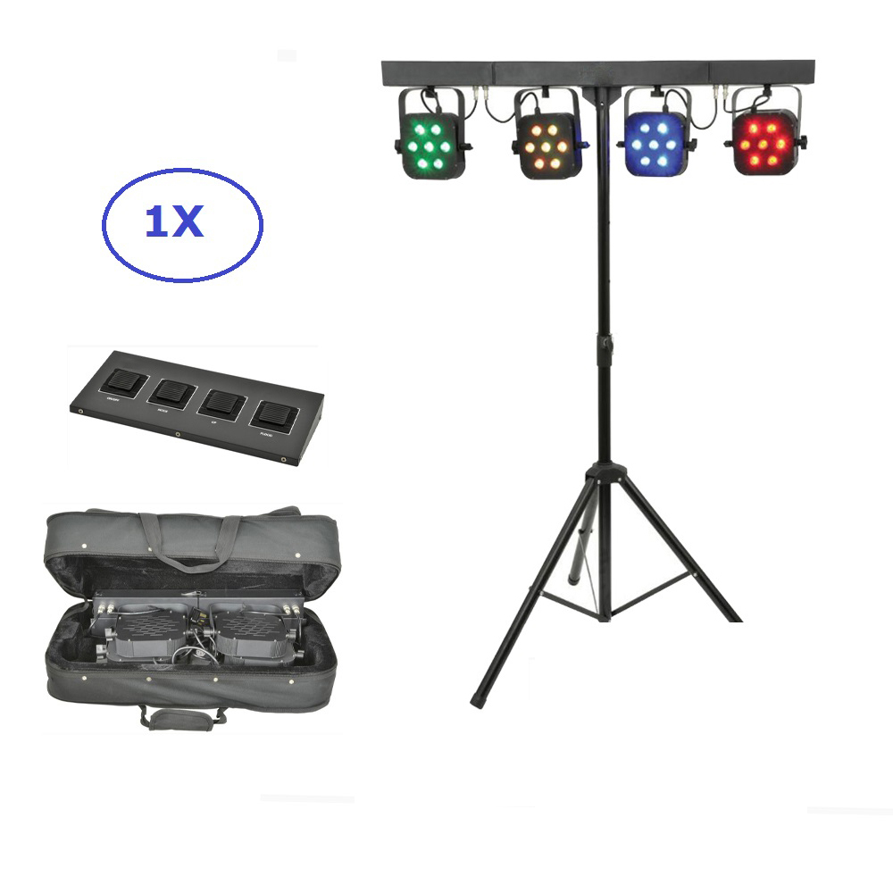 Free Shipping LED Par Kit 4Pcs 7X10W 4IN1 RGBW Led Slim Flat Par Lights With Light Stand DMX Controller Bag Package Set DJ Disco