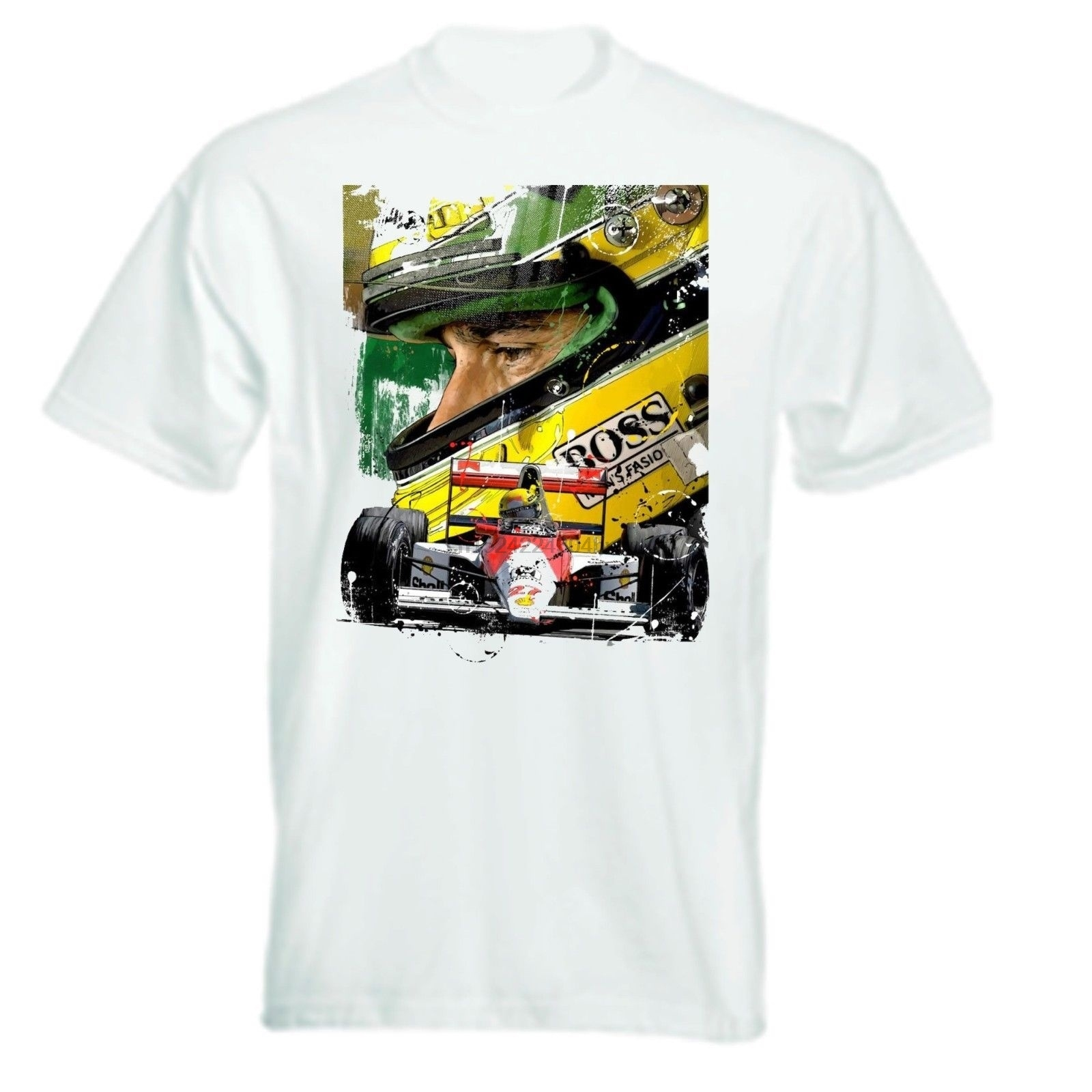 100% Cotton Ayrton Senna Artwork T Shirt women tshirt
