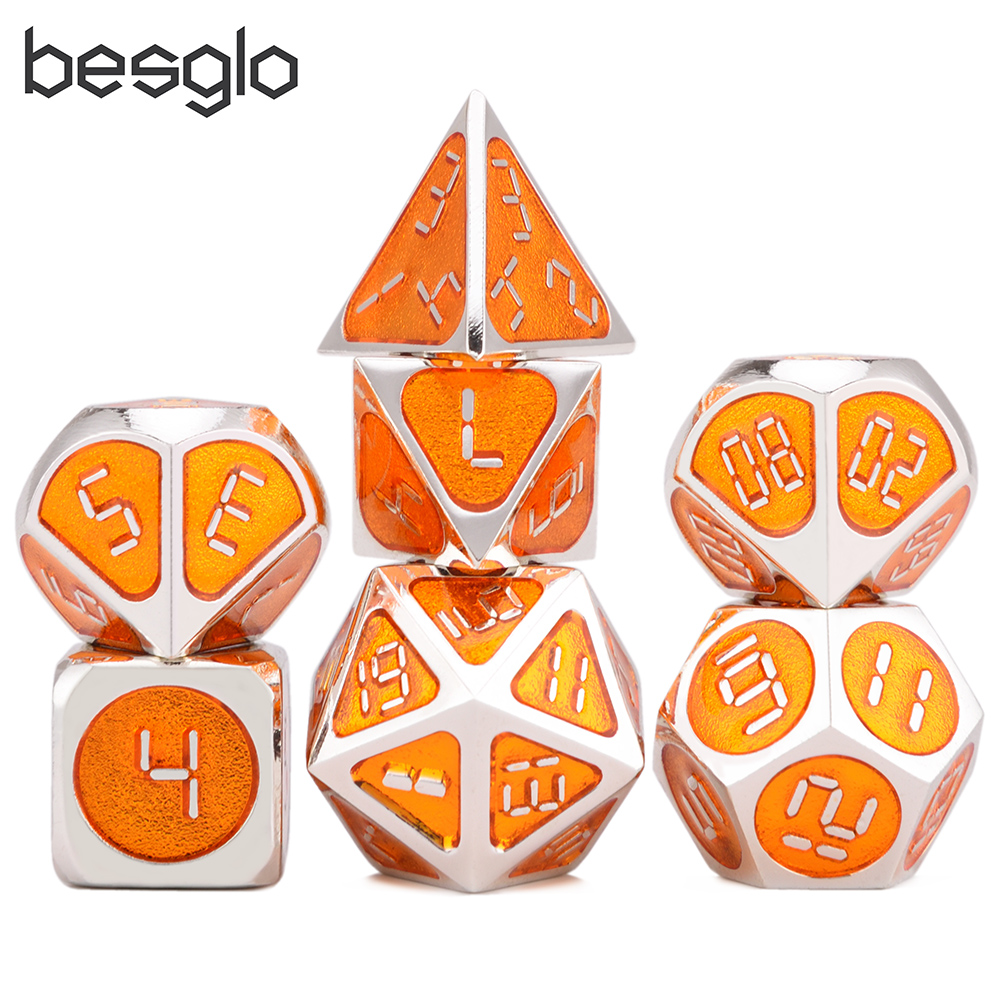 Metal Polyhedral D&D Dice Set With Black Bag For Tabletop RPGs Like DnD And Pathfinder Roleplaying Game Board Games(Orange Dice)