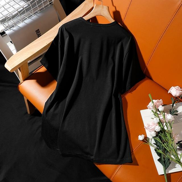 Summer street style new European extra large size 250g hot drill bottle print short sleeve t-shirt women loose Diamond tops