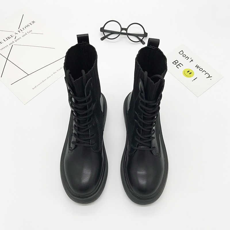 Martin Delle Donne di Avvio Tacco Basso Calzini e Calzettoni Stivali di Stile Britannico Traspirante Lace Up Caviglia Stivali Per Le Donne