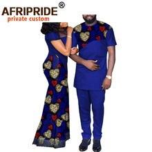 Africano casal roupas femininas longo maxi vestido e agasalho masculino dashiki outfits camisas e calças definir casamento à noite a20c003