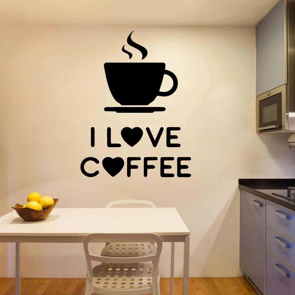 美容コーヒーウォールステッカー自己粘着アート壁紙キッチン壁のdiy家の装飾デカールクリエイティブステッカー ウォール ステッカー Aliexpress