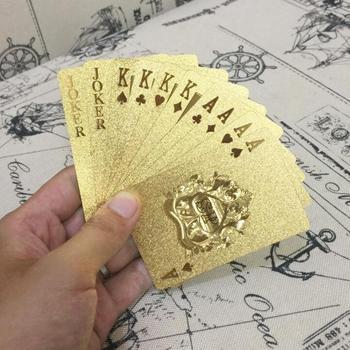 24K Gold Playing Cards Poker Game Deck Gold Foil Poker Set Plastic Magic Card Waterproof Cards Magic Gambling Board Game недорого