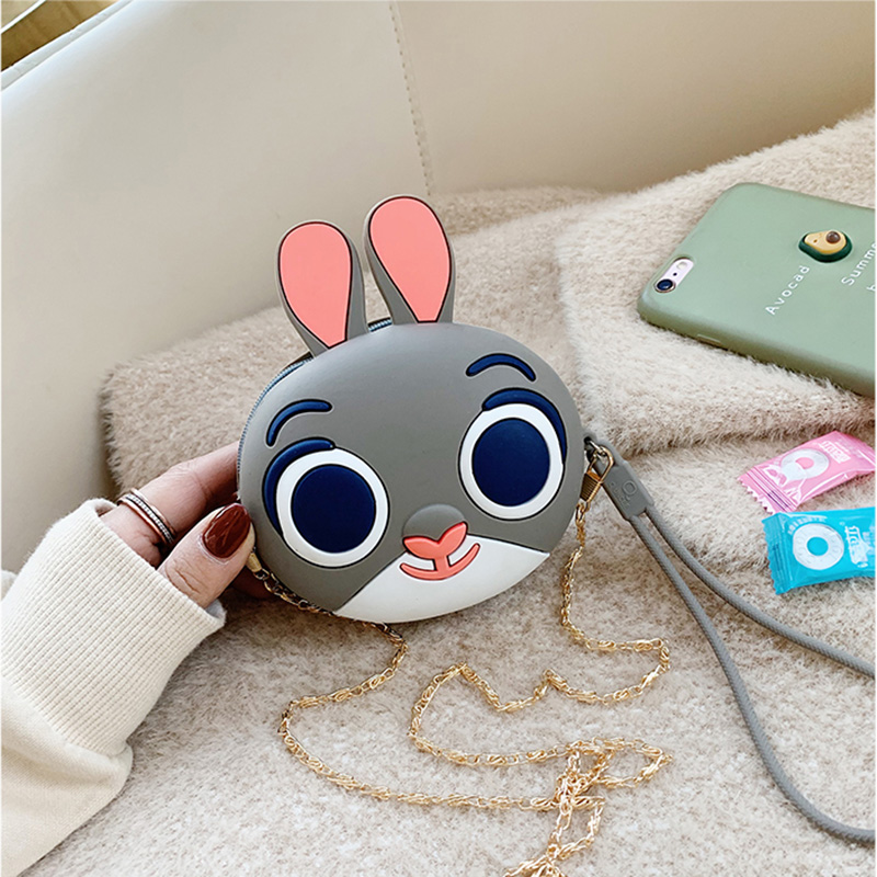 Q UNCLE Cartoon Cute Dinosaur Pig Kids Purse Zipper Silica Gel Kawaii Mini Wallet Chain Coin Purses Waterproof Messenger Bags