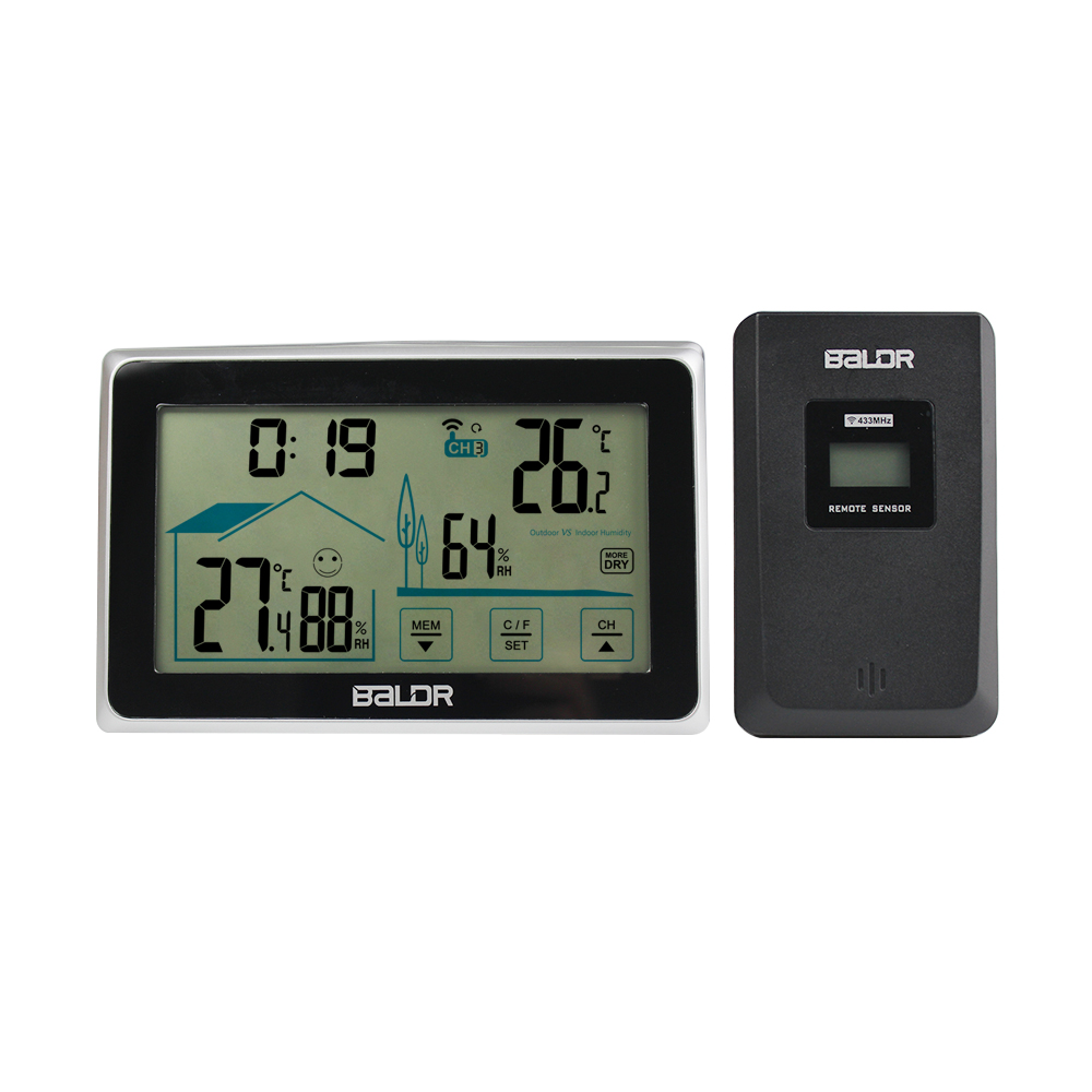Baldr LCD Wireless Weather Station Thermometer Indoor//Outdoor Humidity Clock