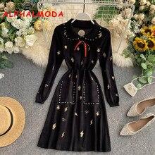 ALPHALMODA трикотажное платье поло г. Осеннее Новое винтажное платье с длинными рукавами для девочек с вышивкой и бисером