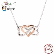 Charm Necklace Heart Love Necklaces & Pendants 925 Sterling Silver Jewelry Chain  Necklace Pendant Women Choker Collier Hearts