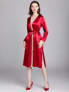Kimono Bathrobe Nightwear Sleepwear Dressing-Gown Lace Satin Bride Silk Wedding-Bridesmaid