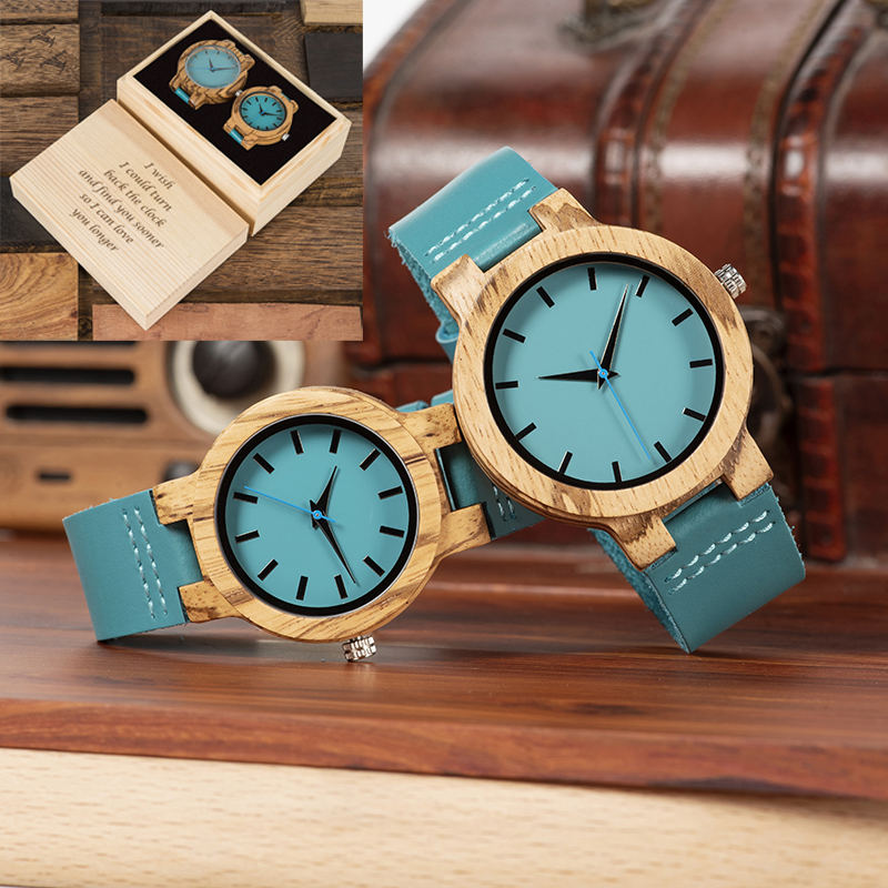 BOBO BIRD Couple Watch Men Women Customize Box Cover Wooden Wristwatch Great Bridesmaid Gift For Wedding Anniversary