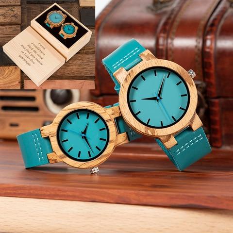 Capa de Madeira Relógio de Pulso Presente da Dama de Honra para o Aniversário de Casamento Bobo Pássaro Casal Relógio Masculino Feminino Personalizar Caixa Ótimo