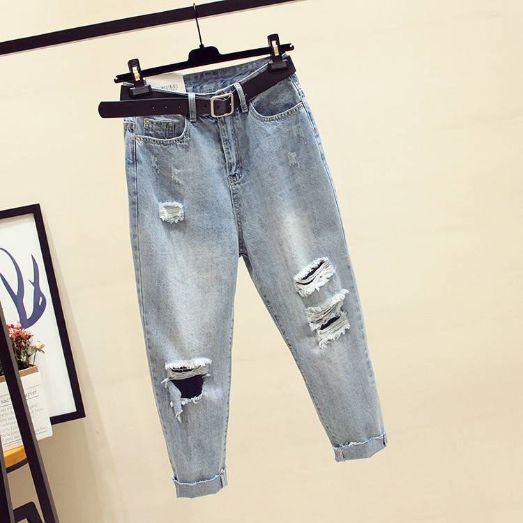 Fa1001-1 2019 New Autumn Winter Women Fashion Casual  Denim Pants Ripped Jeans For Women Womens Clothing