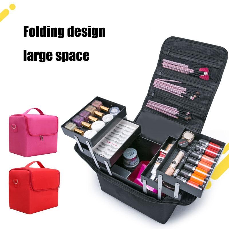 Модные Многослойные полки, косметическая коробка для хранения, большая емкость, косметическая коробка для хранения ювелирных изделий, лак ...