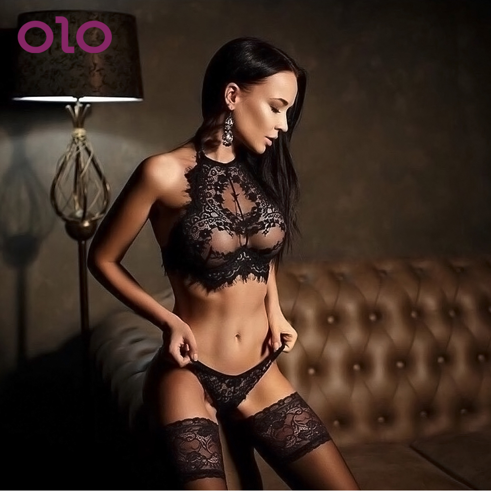 Lace Sexy Lingerie G-string Transparent Women Underwear Sleepwear Lace Bra+G-string Thong Set Erotic Lingerie Sex Toys For Women