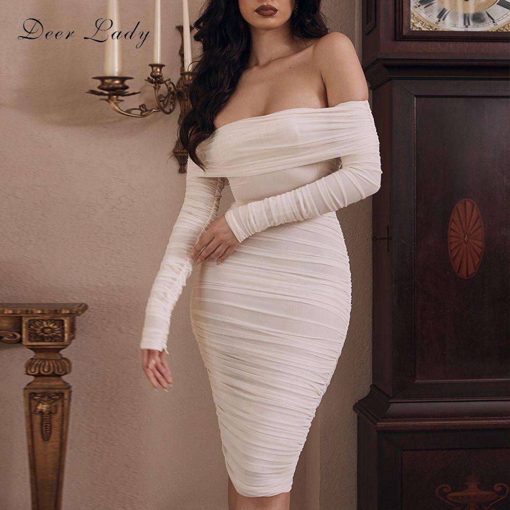 Cerf dame hors de l'épaule robes femmes 2020 hiver maille ruché robe moulante Sexy Vestidos blanc à manches longues robe Midi fête
