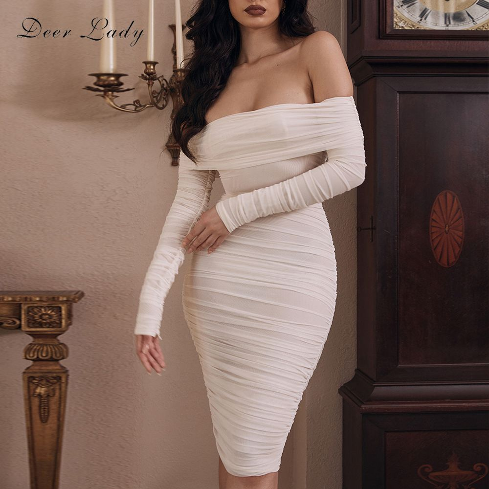 Deer Lady Off The Shoulder Dresses Women 2020 Winter Mesh Ruched Bodycon Dress Sexy Vestidos White Long Sleeve Midi Dress Party