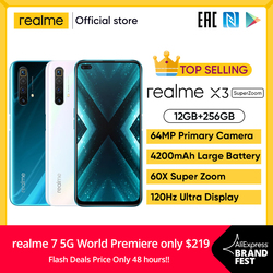 Realme x3 12gb 256gb smartphone 120hz display celular 64mp 60x superzoom celular snapdragon 855 + telefone grande bateria