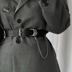 Cinturones de piel sintética suave con cadena para mujer, cinturón con ojal estético de lujo, hebilla de metal y plata