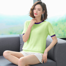 Women Summer Cotton Linen Blouses Green Pink White Black White Short Sleeve Tops Female O-neck Bright Colour Stripe Hem Blouse mostnica beach sexy white sheer guipure lace tops without bra plain blouse women summer batwing sleeves round neck blouses