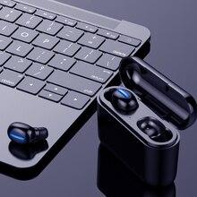 真のbluetooth 5.0イヤホンhbq twsワイヤレスheadphonsスポーツハン3Dステレオゲーミングヘッドセットとマイク充電ボックス