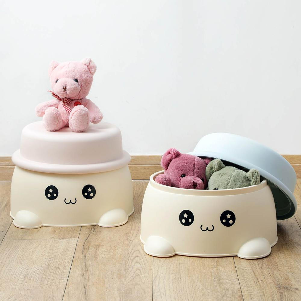 Kids Cartoon Storage Stool Multifunctional Change Shoes Beach Anti-Slip Foot Stool Household Plastic Small Stools With Cover