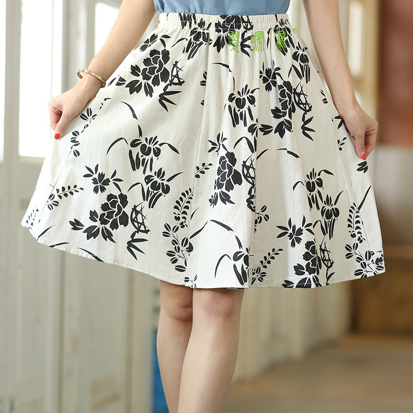 Short Skirt Printed A- Line Summer Sub-Cluster Lower Body Cotton Cloth Literature And Art Mori Girl Cotton Linen Ethnic-Style Wo